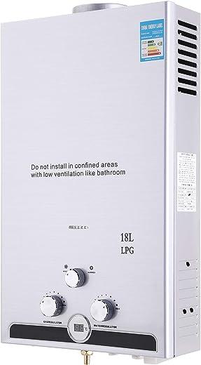 Z ZELUS 18L Gas-Durchlauferhitzer LPG Warmwasserbereiter Heißwasserbereiter Durchlauferhitzer Boiler Warmwasserspeicher Tankless Instant (18L)