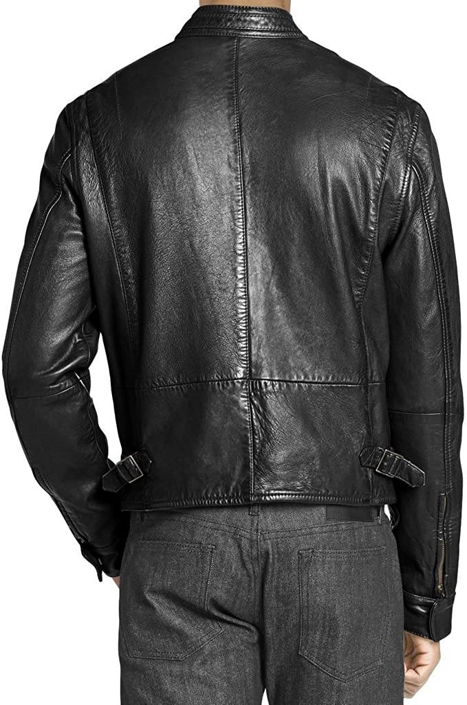 New Men Motorcycle Black Cow Leather Jacket Coat Size XS S M L XL LTC086