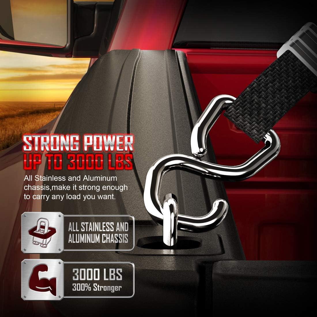 Tigeracing Tie Down Anchors Retractable Truck Bed Top Side D Ring Compatible 1988-2013 Silverado 1500 2500 /& Sierra 1500 2500 All Metal 3000 LBS Capacity of 4