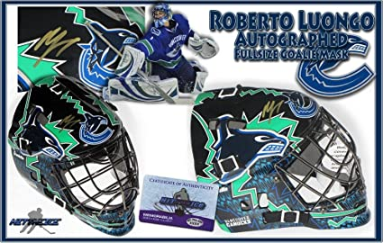 Amazon Com Roberto Luongo Signed Vancouver Canucks Full Size Goalie