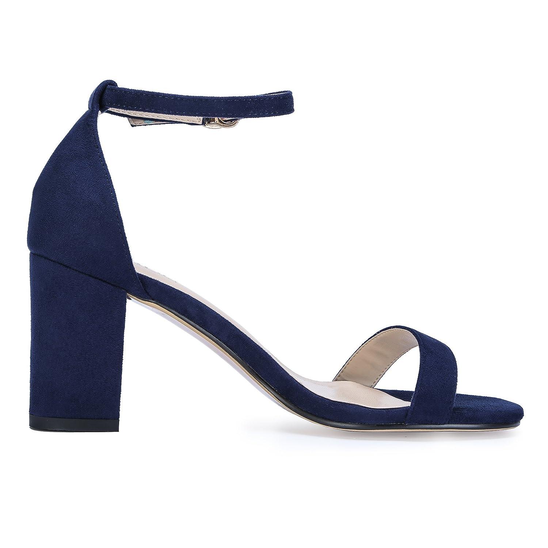 IDIFU Womens Cookie-MI Block Heels Sandals 3 Inch Chunky Open Toe Ankle Strap Wedding Dress Pump Shoes