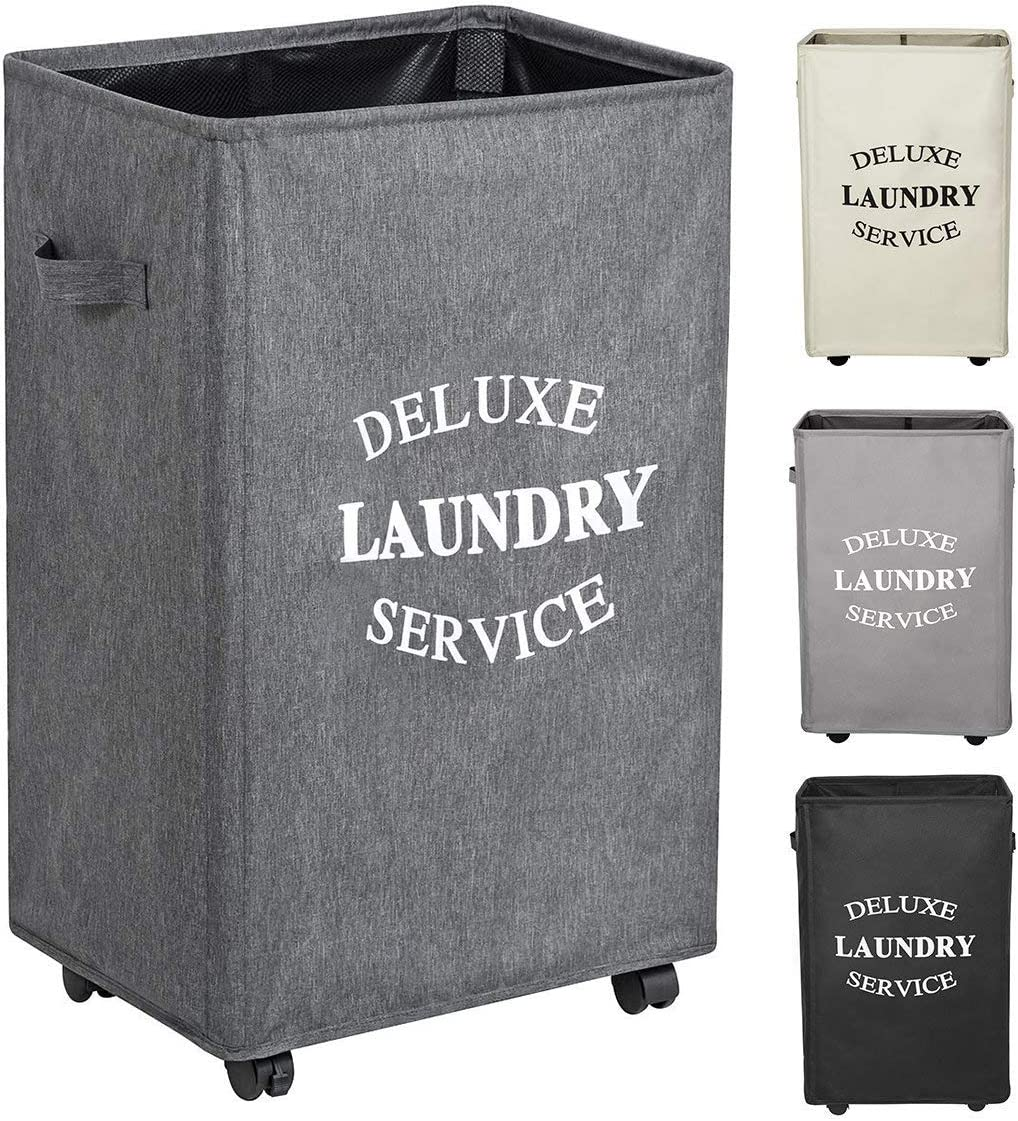 WOWLIVE 90L Large Rolling Laundry Hamper with Wheels Collapsible Laundry Basket on Wheels Durable Laundry Bag on Wheels Foldable Rectangular Hampers for Laundry (Grey2)
