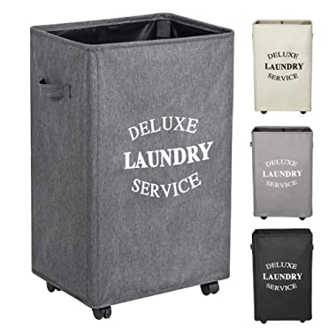 WOWLIVE Large Rolling Laundry Hamper Basket with Wheels Durable Dirty Clothes Bag Collapsible Rectangular Washing bin (Grey2)