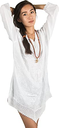 White Floral Cotton Dress T-Shirt Tunic Boho Hippie Summer Beach Shift Blouse