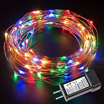 LE 33ft Christmas 100 LED String Lights Multicolor Copper Wire Starry Fairy  Lights Indoor Outdoor Decorative