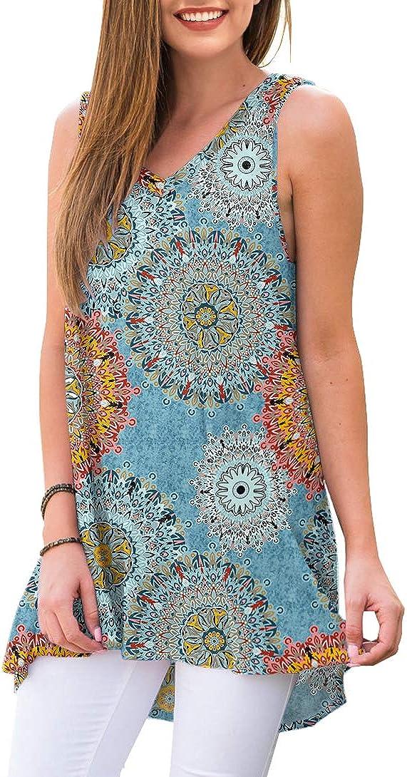 AWULIFFAN Womens Summer Sleeveless V-Neck T-Shirt Tunic Tops Blouse Shirts