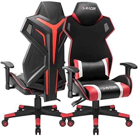 Homall Gaming Chair Racing Style Office Chair High Back Computer Desk Chair Ergonomic Swivel Chair Breathable Mesh Back Bucket Seat Chair with Adjustable Armrest Red, 1 Pack