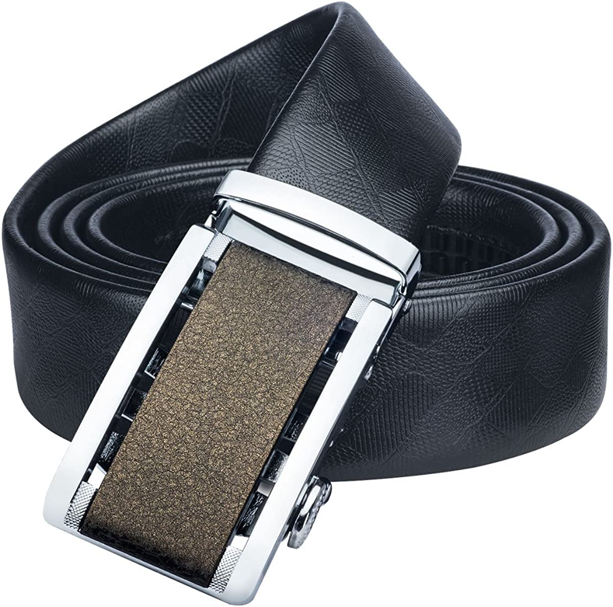 Barry.Wang Genuine Leather Belts Mens Automatic Metal Buckle Belt Extra Long