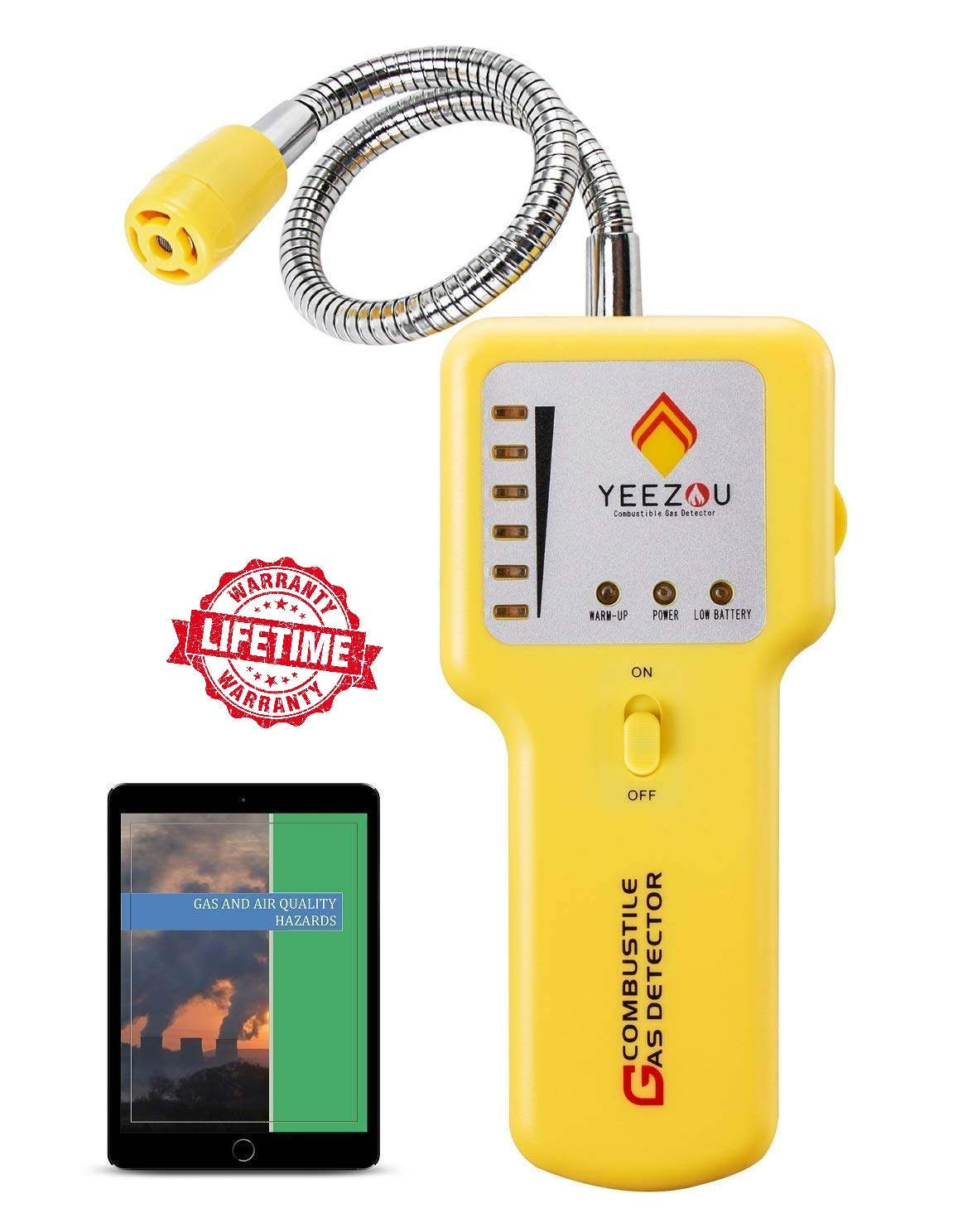 Natural Gas Detector, Propane Gas Leak Detector, Gas Sniffer, Portable Combustible Explosive Gas Sensor, Tester: Methane, Butane, LPG, LNG; Sound & LED Warning (Gas Leak Detector)