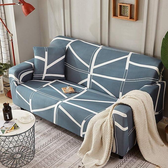 CHYOOO Funda De Sofa Moda Simple Raya Impresión Verde Piel ...