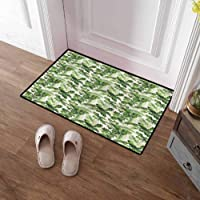 SCOCICI1588 Welcome Doormats Green, Palm Leaves Breadfruits Inside Door Mats for...