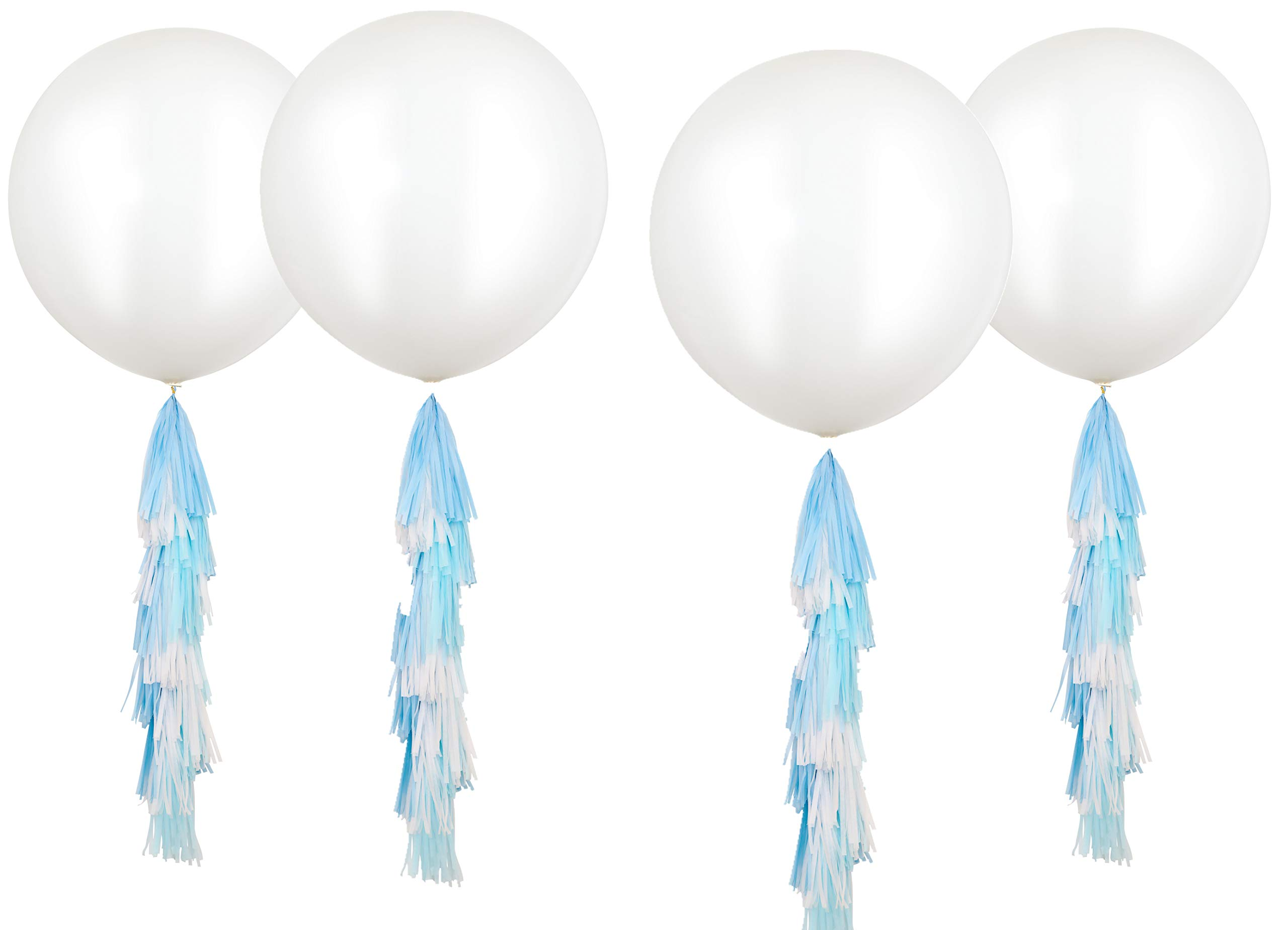 Fonder Mols 4pcs 36'' Giant White Round Latex Party Balloons with Baby Blue Turquoise White Paper Tassels Blue Party Hanging Decoration