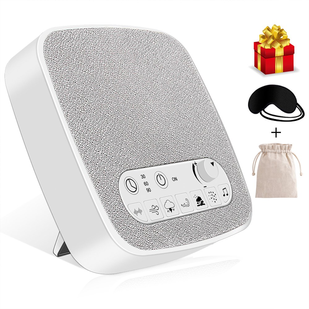 White Noise Machine, VPOW [UPGRADED 2018] Wave Premium Sleep Therapy Sound Machine with 6 Soothing Natural Sounds, Sleep Machine Built in USB Output & Timer 1PC Sleep Mask