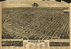 1889 Lincoln Nebraska, Bird's Eye Map Lincoln, Neb, State Capitol of Nebraska,- 16