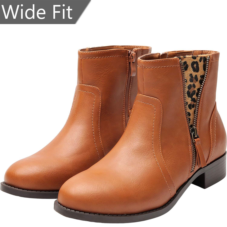 faba7e4c3ee Women's Wide Fit Ankle Boots - Low Heel Round Toe Slip on Side Zip Leopard  Print Booties.
