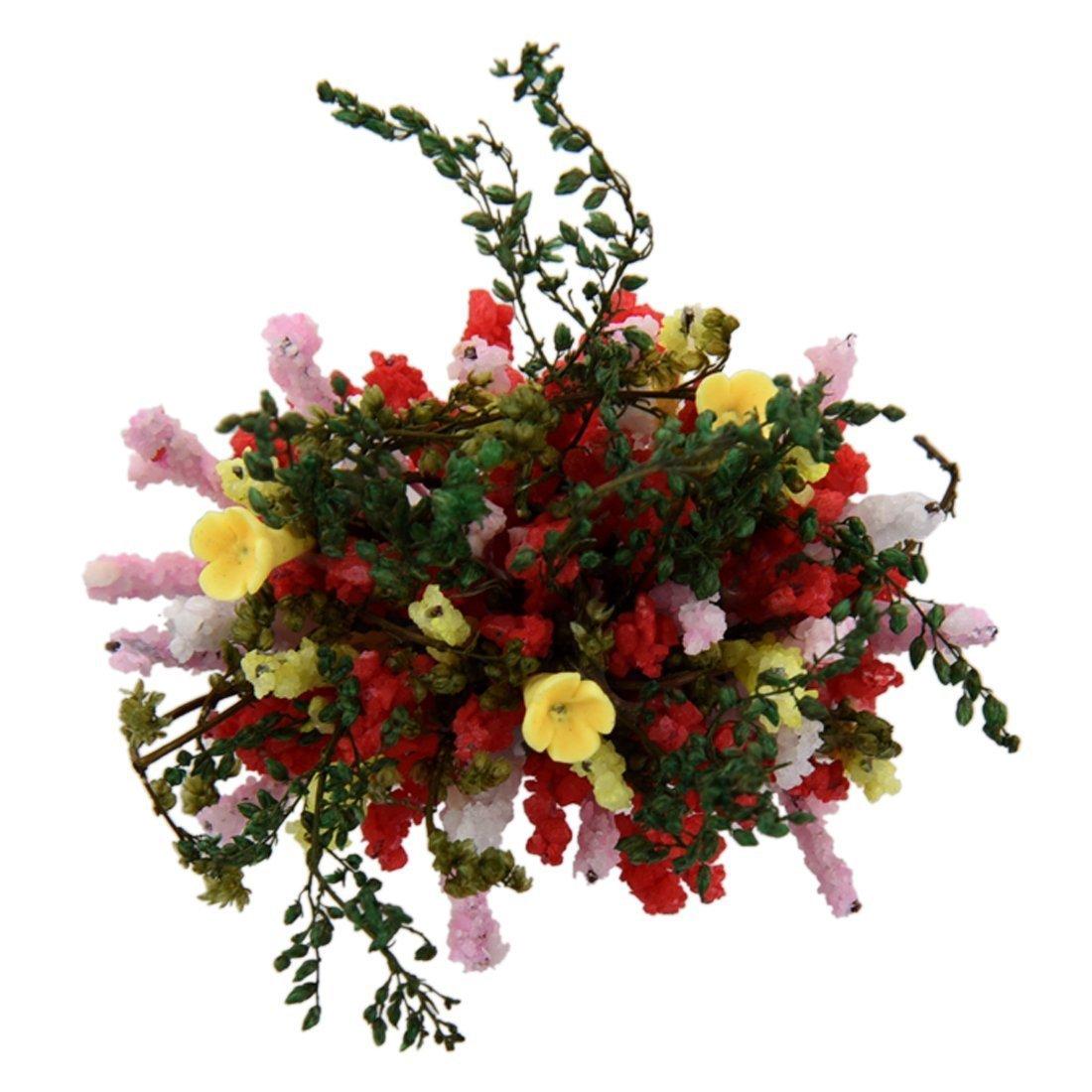 Fleurs Multicolores Miniatures avec Pot de Bois pour Maison de Poupee 1//12 echelle R SODIAL Pot Fleurs