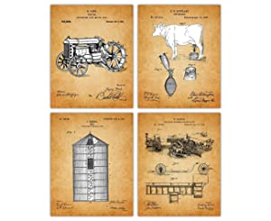 Vintage Farming Patent Poster Prints – Set of 4 Unframed 8x10 Photos - Unique Wall Art for Home, Room, Dorm & Office Decor - Great Gift Idea Under $20 for Farmers & Farming Enthusiasts