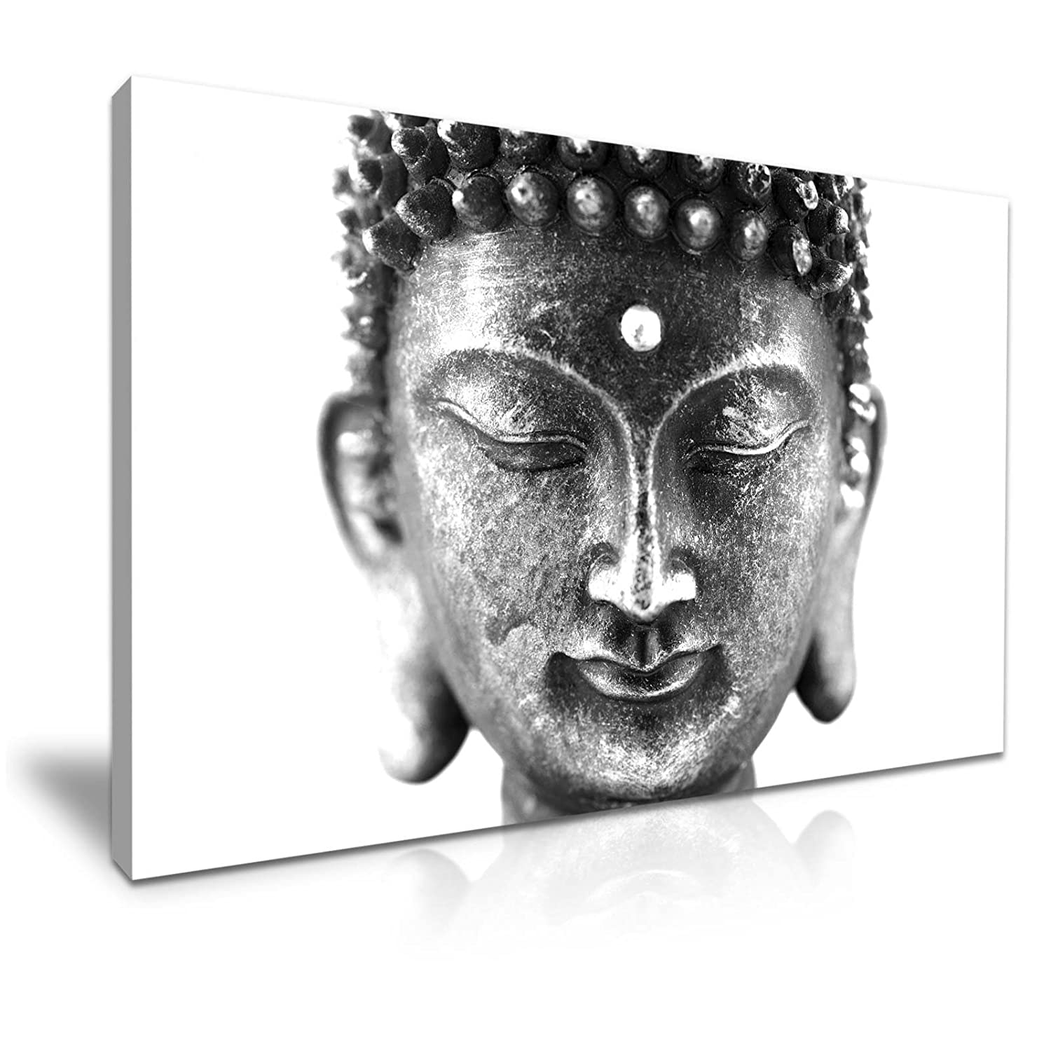 Black and White Buddha Canvas Wall Art Picture Print 76x50cm