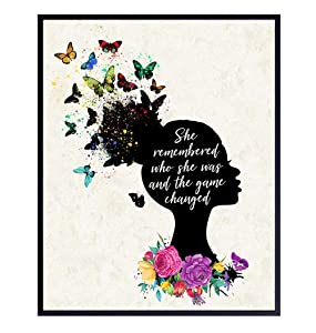 Motivational Wall Art Decor for African American, Black Women - 8x10 Home Decoration Poster for Girls Bedroom, Living Room, Bathroom, Office - Cool Unique Inspirational Gift - Flowers, Butterflies