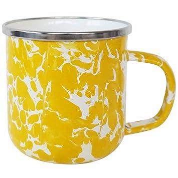 e8af56f8f9f Amazon.com | DHWM-Lemon Yellow Splash Enamel Enamel Mug Water Coffee ...