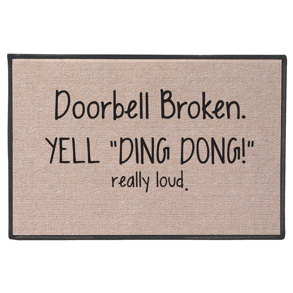 SIGNALS Doorbell Broken Yell Ding Dong! Really Loud Doormat - Weather Resistant by SIGNALS (Image #1)