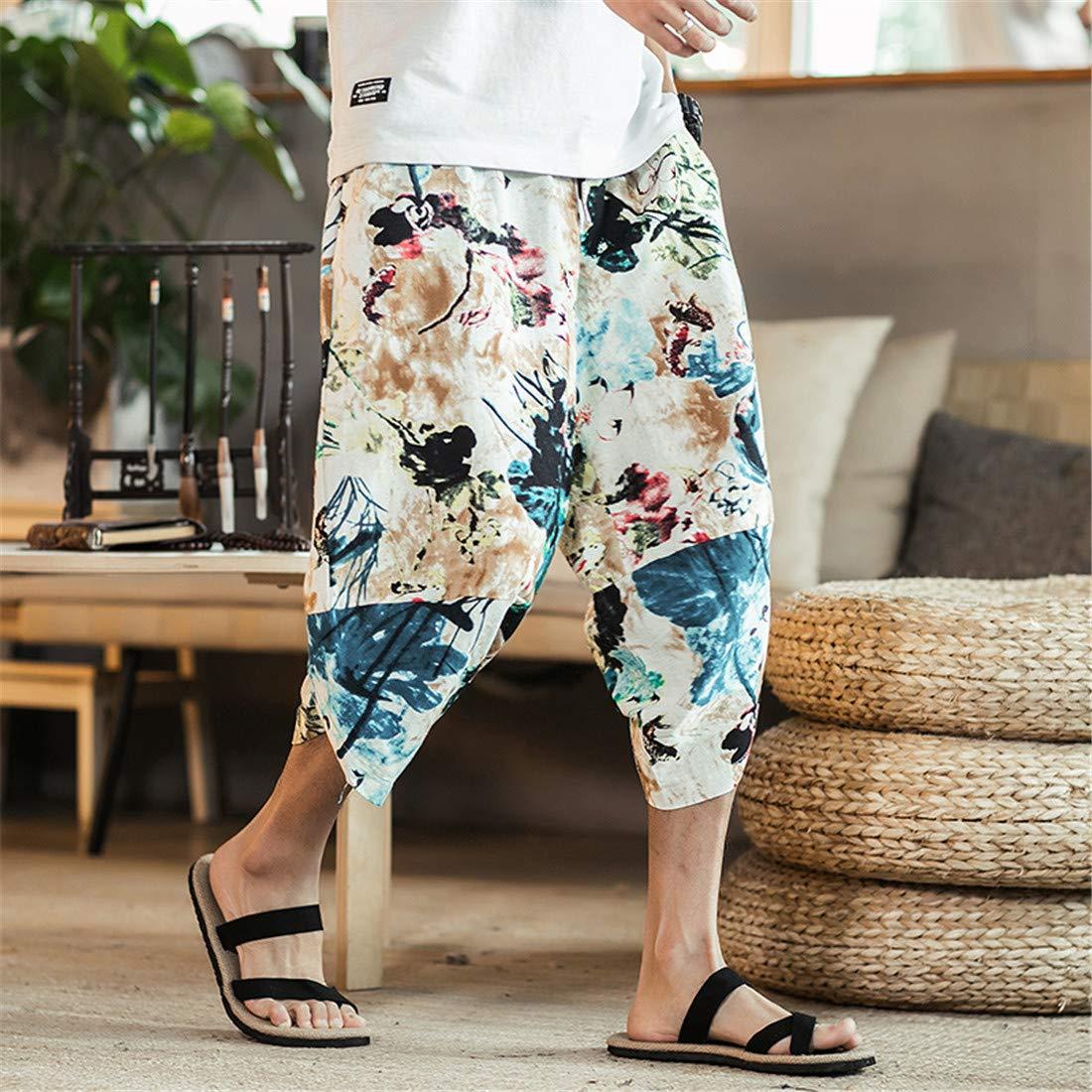 ONLYWOOD Mens Cotton Blends Linen Hip-hop Capris Drop Crotch Long Harem Shorts
