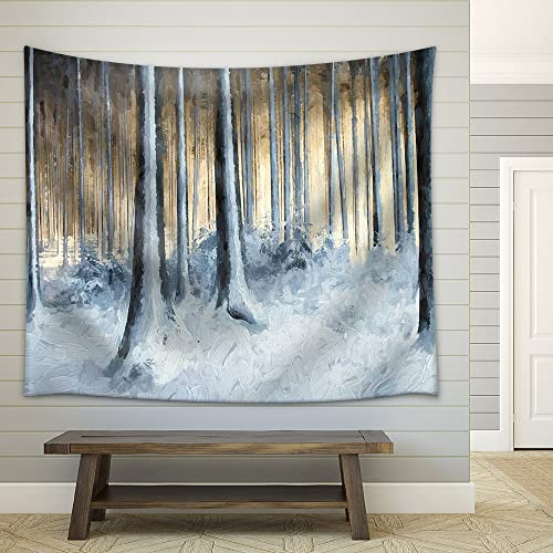 wall26 – Oil Painting Snowy Trees in The Winter Forest – Fabric Wall Tapestry Home Decor – 51×60 inches