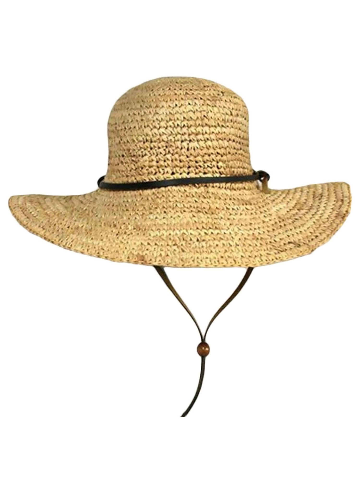 Natural Tan Wide Brim Floppy Sun Hat With Chin Cord