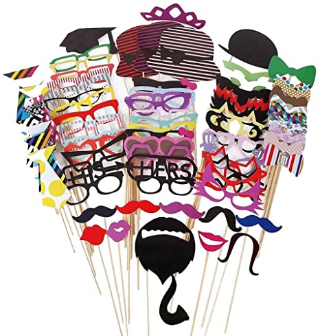 AZLife Kit de accesorios para fotomatón, kit DIY, accesorios y decoración para cumpleaños, graduación, boda, despedida de soltera, reuniones ...