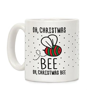 Coffee Christmas Puns.Amazon Com Lookhuman Oh Christmas Bee White 11 Ounce