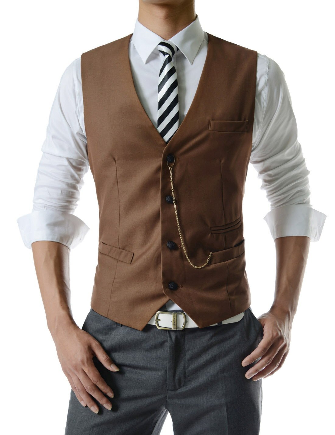 TheLees (GVE) Mens Business Slim Fit Chain Point 4 Button Vest Waist Coat Brown US S(Tag size L)