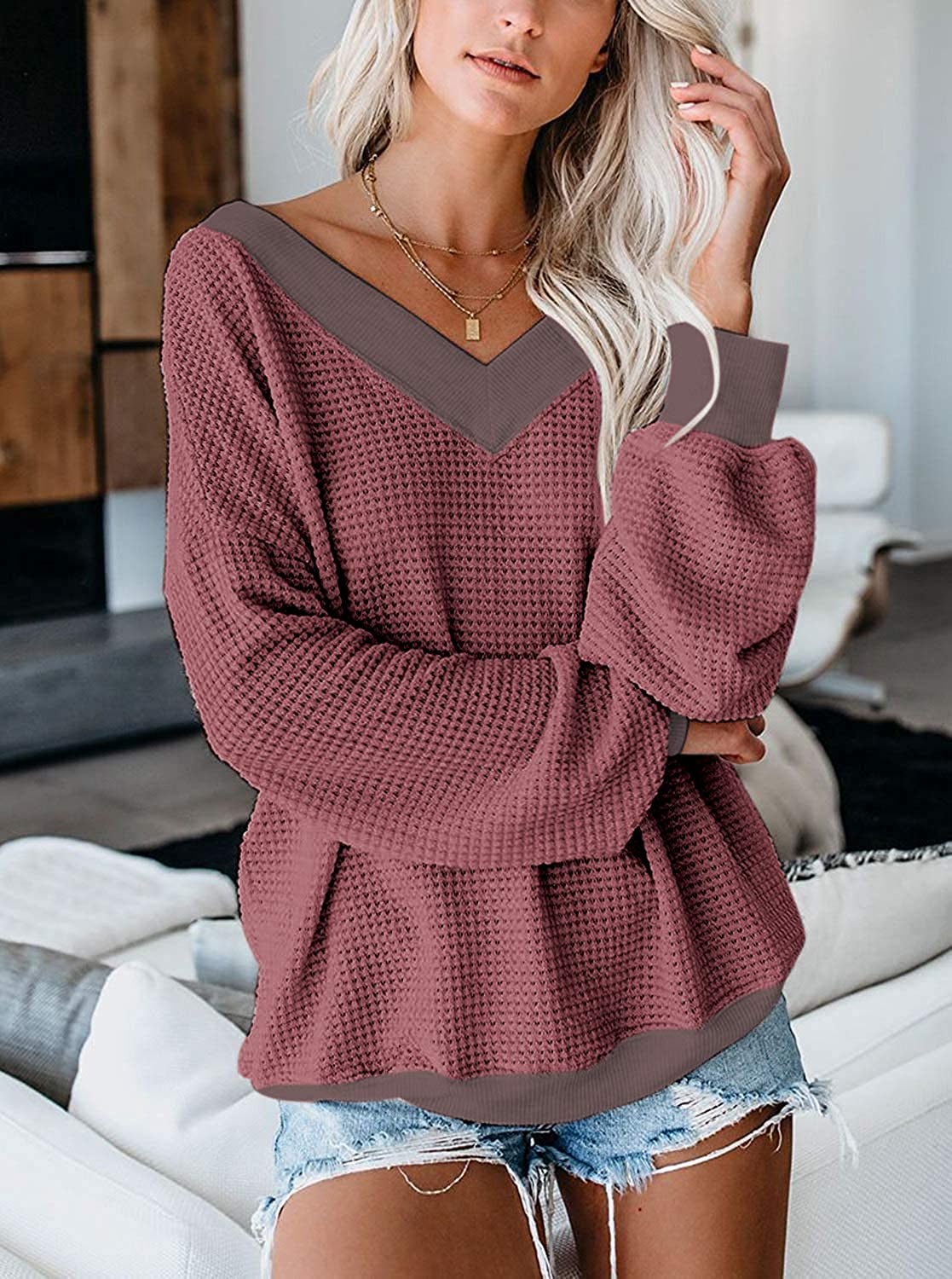 Womens Sweater Tops Off Shoulder Long Sleeve Bat Sleeve V Neck Loose Pullover Sweaters Top