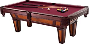 Fat Cat Reno 7.5' Pool Table with Dark Cherry Finish and Wine Colored Cloth, Accuslate Billiard Surface for Consistent Straight Shots and Sturdy Straight Legs for Stability