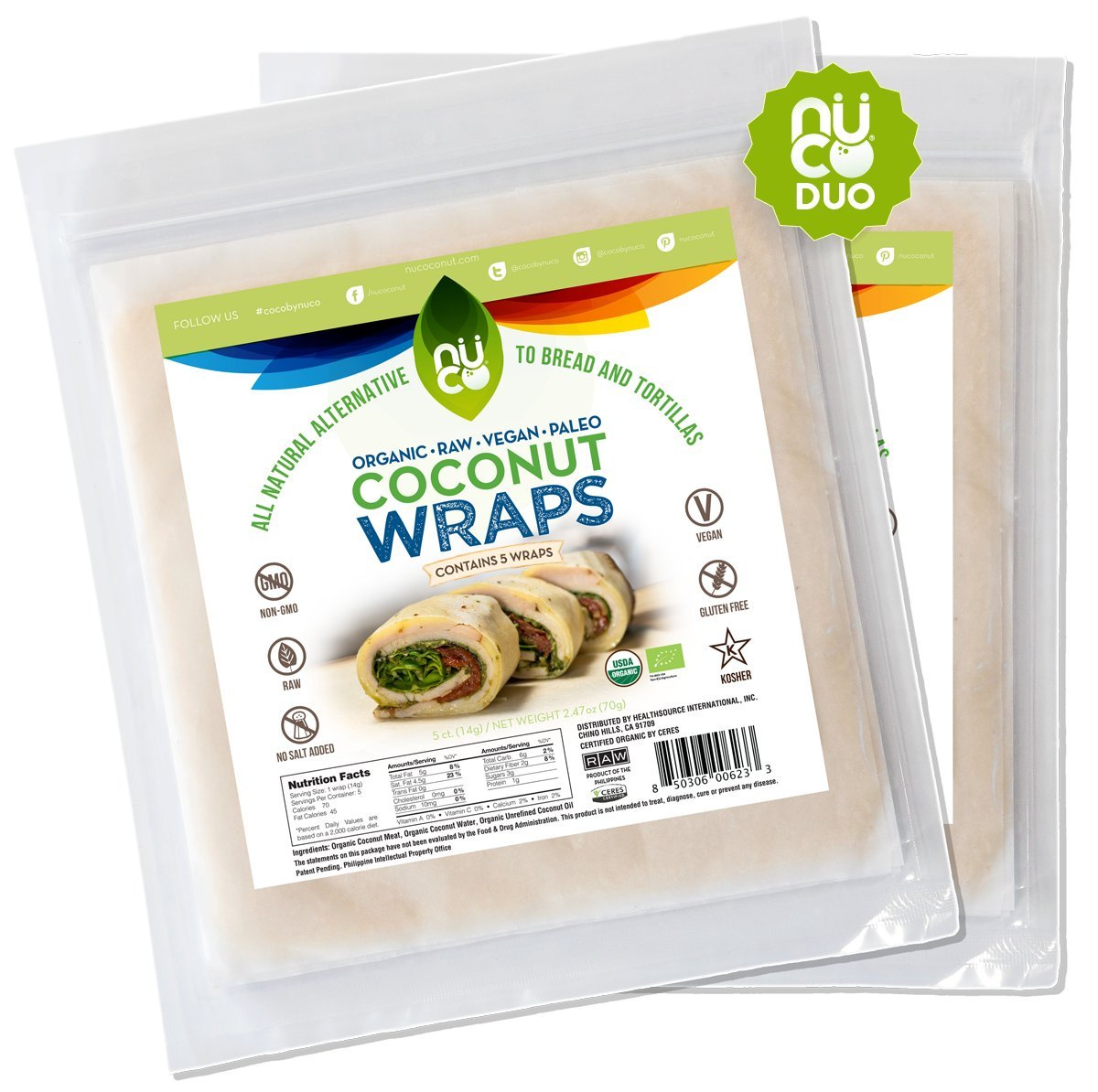 NUCO Certified ORGANIC Paleo Gluten Free Vegan Coconut Wraps (Various Quantities) (10 count)