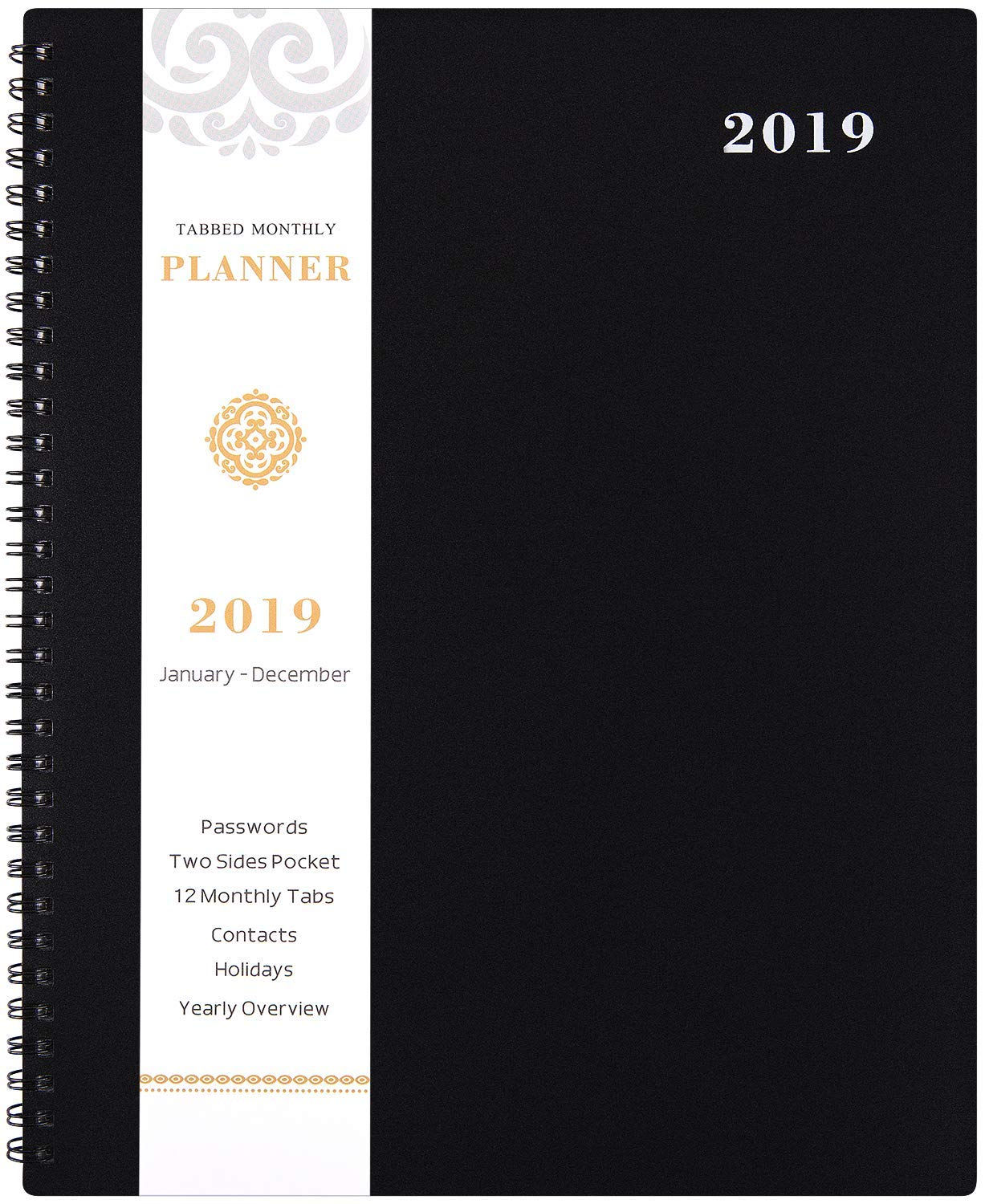 2019 Monthly Planner - 2019 Planner with TABS & Pocket & Label, Contacts and Passwords, Thick Paper, Twin-Wire Binding, 8.5'' x 11'' - Artfan