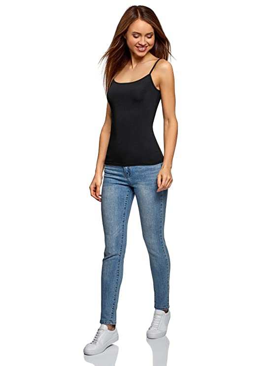60bc48eeed5e7a oodji Ultra Women s Basic Thin Strap Tank Top  Amazon.co.uk  Clothing