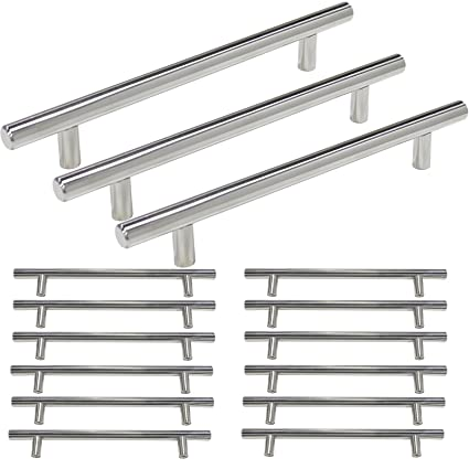 Probrico Kitchen Handles And Knobs For Cabinet T Bar Cabinet Handles  Polished Chrome Finish Kitchen Cupboard