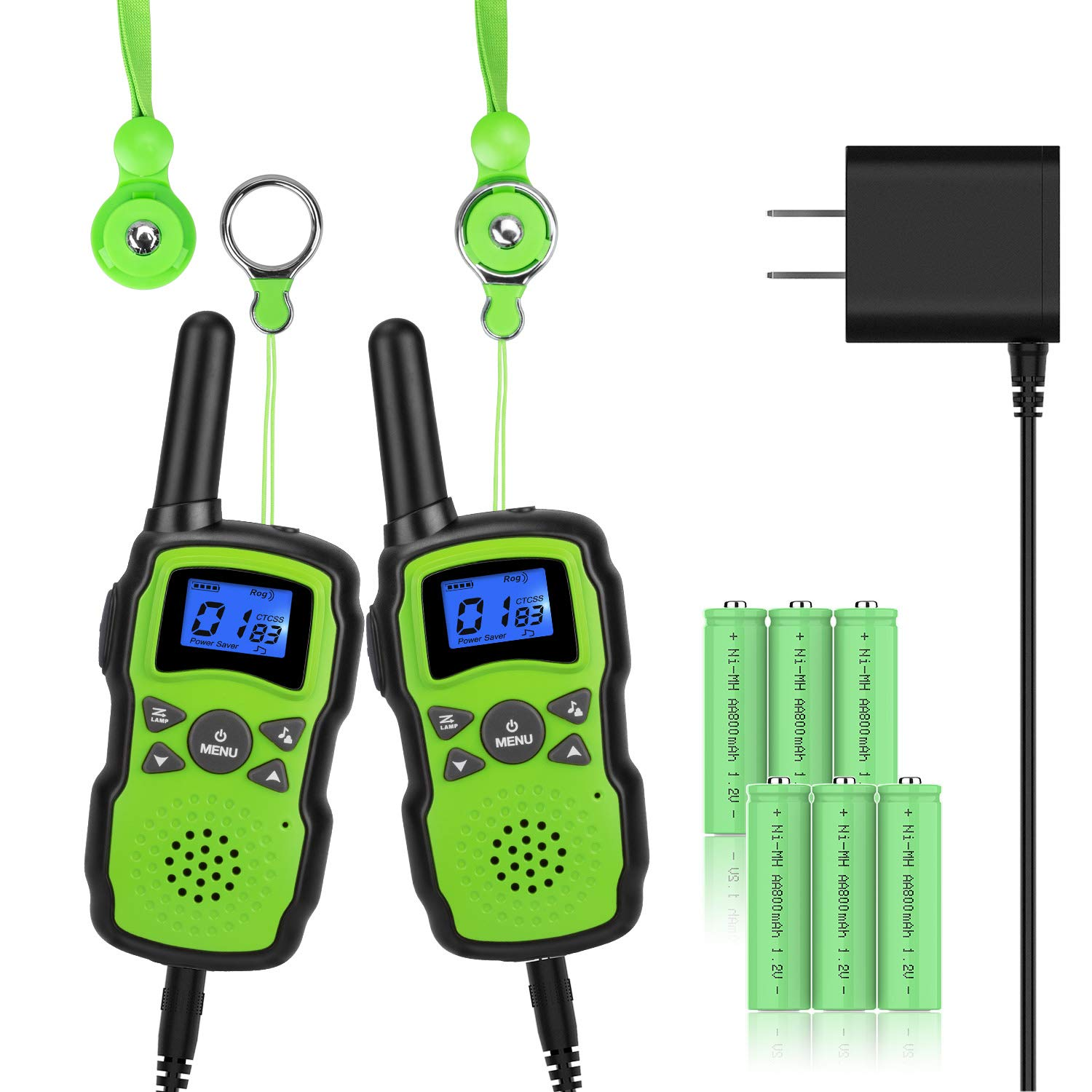 Wishouse 2 Rechargeable Walkie Talkies for Kids with Charger Battery, Two Way Radio Family Talkabout for Adult Cruise Ship Long Range, Outdoor Camping Hiking Fun Toy Birthday Gift for Girls Boys Green by Wishouse (Image #2)