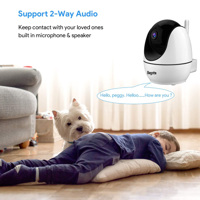 Audio de 2 V/ías C/ámara de Vigilancia WiFi Interior FHD con Visi/ón Nocturna Compatible con iOS Bagotte 1080P C/ámara IP WiFi Alarma Email Android con Ap Hotspot,Detecci/ón de Movimiento
