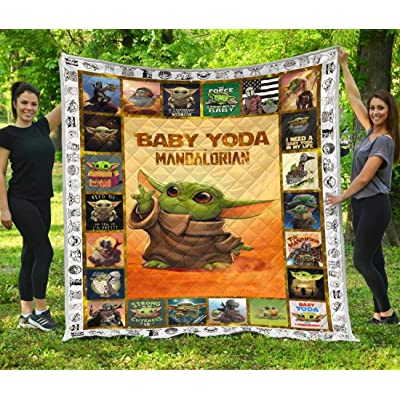 Baby Yo-da Quilt Star-Wars Quilt Mandalorian Quilt - Yo-da Funny Quilt Gift Idea for Men Women - Birthday Gift Quilt for Sofa Chair Bed Office Travelling Camping - Queen (80 x 90 inches): Home & Kitchen