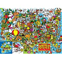 Buffalo Games Cartoon World: Dave Garbot Landmarks of The United States Jigsaw Pizzle (1000 Piece)