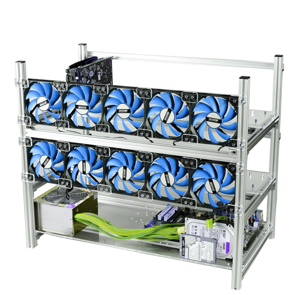 12GPU Open Air Mining Rig Aluminum Stackable Frame Case Cryptocurrency Miners With 10 Fans For ETH/ETC/ ZCash Ethereum,Bitcoin,and Altcoins (Silver+ Blue LED Fans)