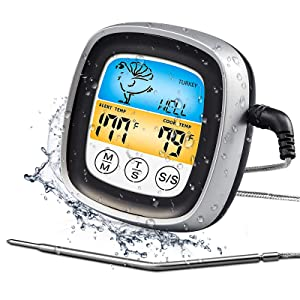 Boxce Instant Read Digital Meat Thermometer, Fast & Precise Digital Food Thermometer with Backlight, Magnet, Calibration, for Deep Fry, BBQ, Grill, and Baby Food. (Black)