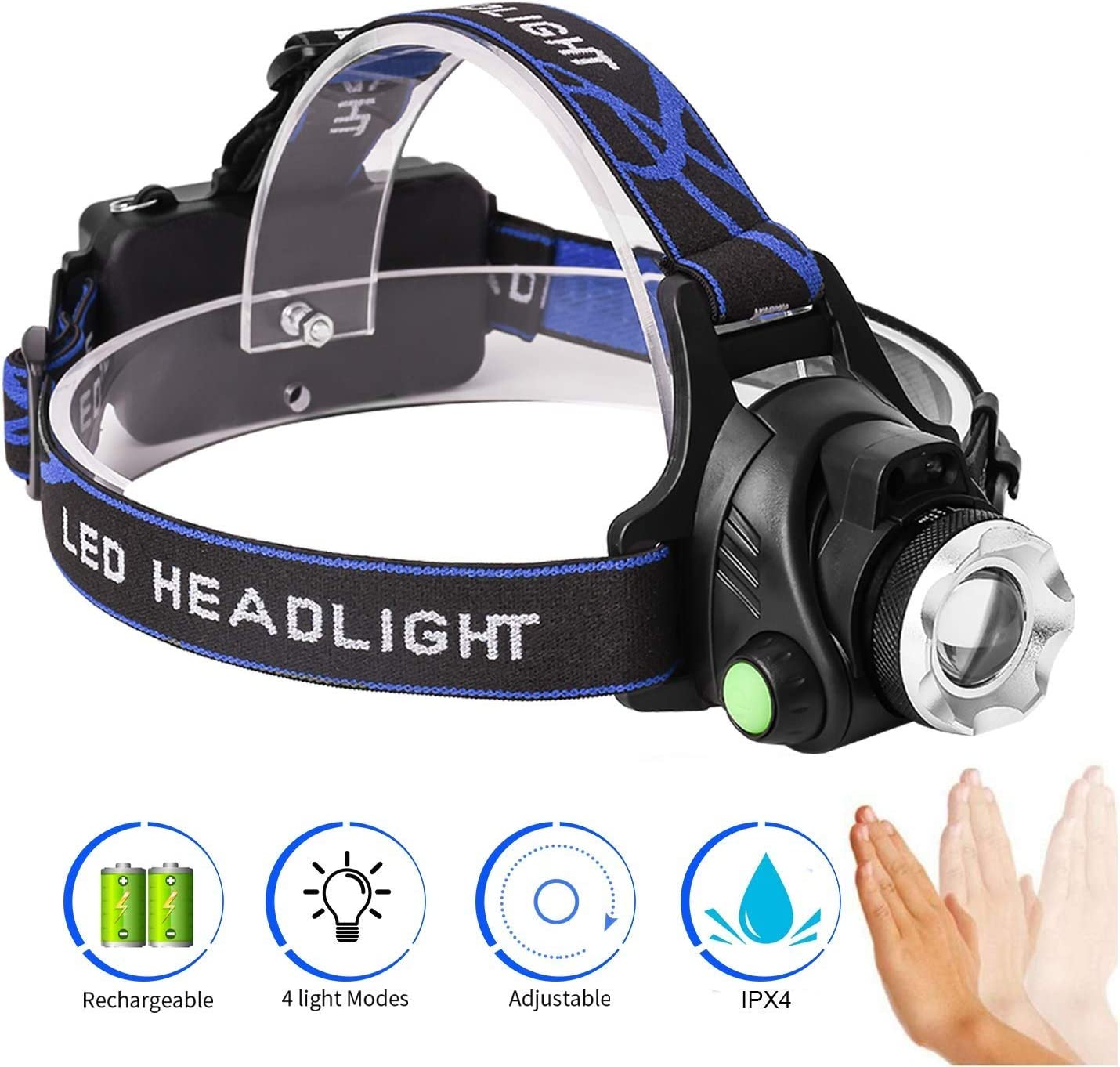 12 COB Outdoor Led Headlight Camping Riding Lighting Head Lamp Flashlight Torch