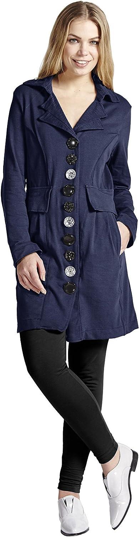 Neon Buddha Women Lightweight Cotton Jacket/Long Blazer with Buttons and Pockets