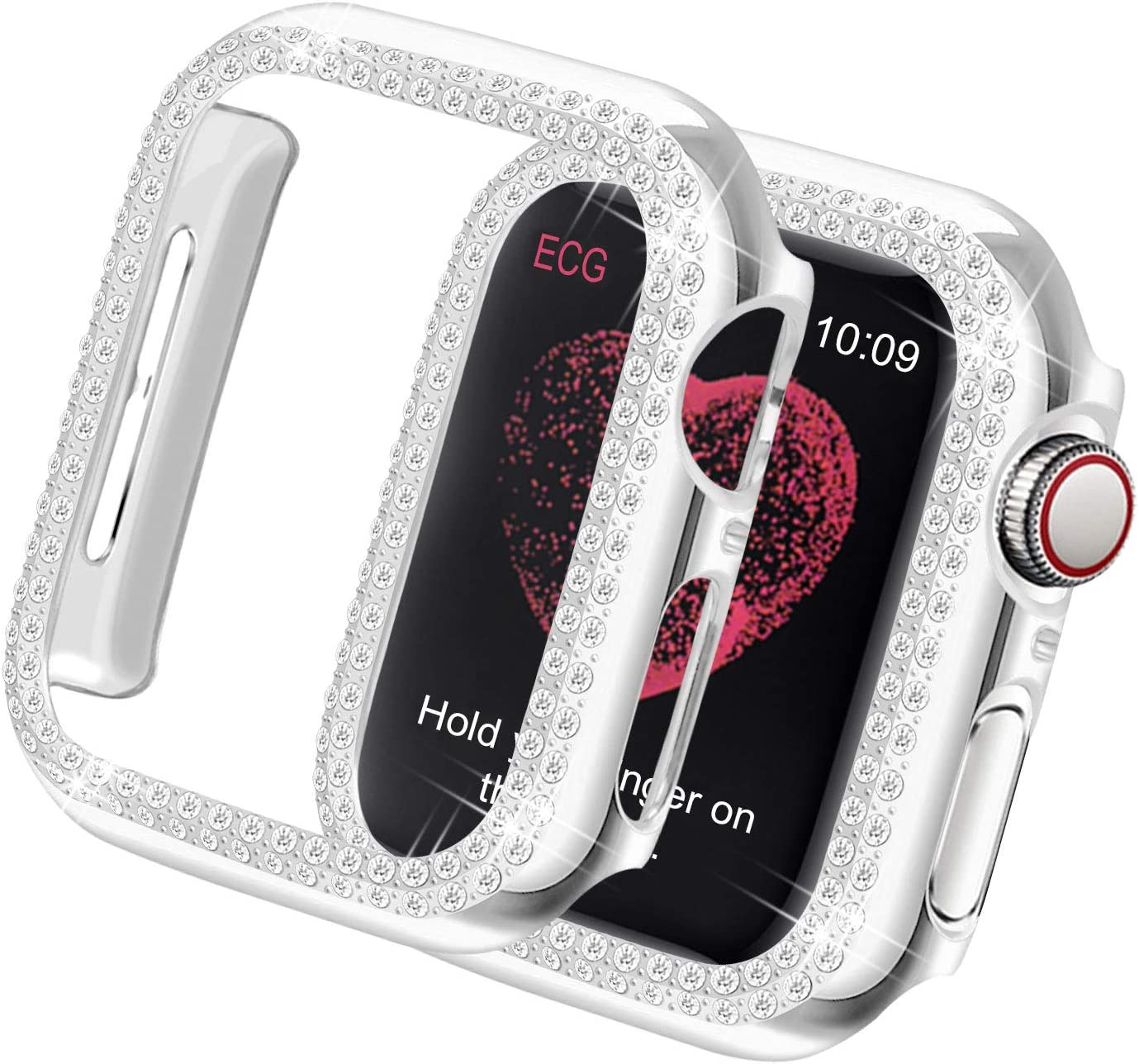 Yolovie Compatible for Apple Watch Case 40mm SE Series 6 5 4 Bling Cases Crystal Diamond Shiny Rhinestone Bumper Protective Frame for Women Girl iWatch Face Cover (Double Diamonds, 40mm Silver)