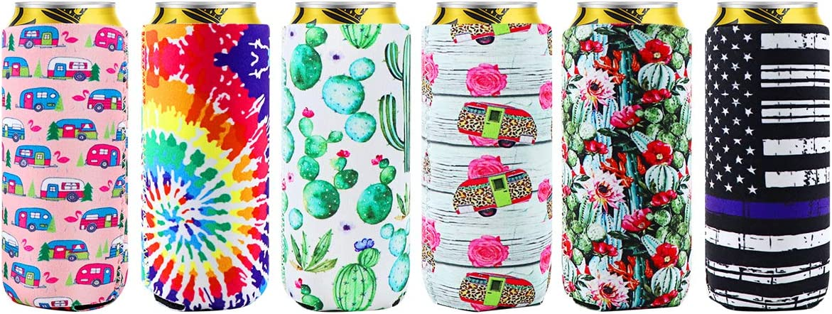 WHDZ 6 Pack Slim Can Cooler Sleeves, Neoprene Insulated Collapsible Sleeve for 12oz Energy Drink Beverage Skinny Beer Cans (Colorful)