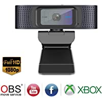 Spedal Full HD 1080p Webcam With Privacy Shutter & Microphones (Black)