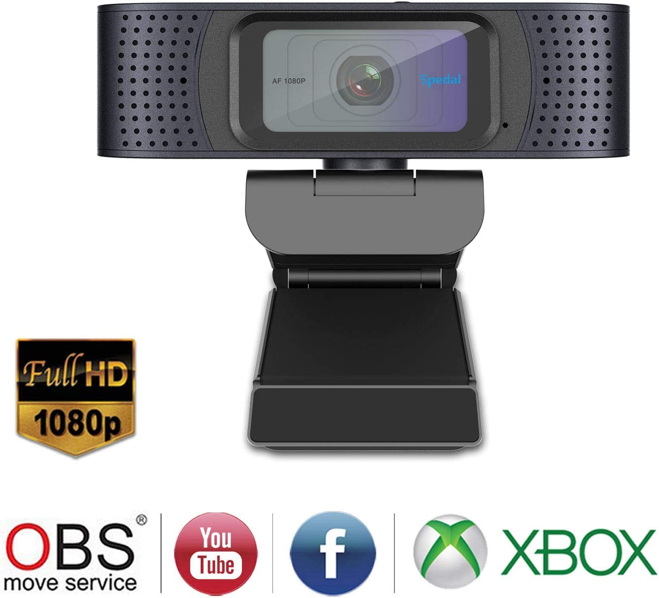 HD Webcam 1080P with Privacy Shutter Autofocus Streaming Camera USB Webcam with Dual Microphones Desktop or Laptop Webcam Computer Camera for Skype OBS YouTube Twitch
