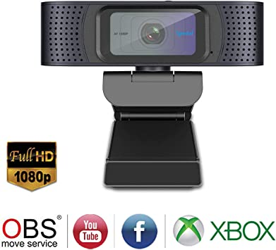 Free-Driver Installation Laptop or Desktop Webcam USB Computer Camera for Mac Xbox YouTube Skype Autofocus Webcam for Gaming Conferencing HD Webcam 1080P Streaming Web Camera with Microphones